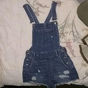 Dark wash denim short overalls